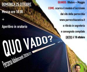 """""""Quo Vado?"""" – Percorso adolescenti 2020/2021"""